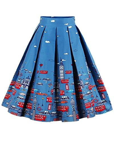 ZAFUL Damen Elegante Faltenrock Druckmuster 50s Hepburn Petticoat Rock A Linie Röcke-Blau (Frauen Kostüme Bananen)