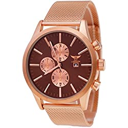 NY London Men's Watch Design Men's Chronograph Rose Gold Brown Watch with Date Display + Watch Box