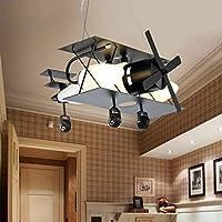 FuManLi Avión Negro Decoración Araña Dibujos Animados Decorativos Retro Hierro Industrial Iluminación en la Rueda para niños Dormitorio Niños habitación