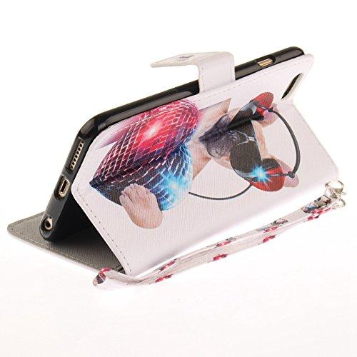 iPhone 6s Plus 5,5Zoll Schutzhülle,iPhone 6 Plus Leder Hülle,TOYYM Ultra Dünn Full Body Protection Flip Leder Wallet Brieftasche Case 3 in 1 Handytasche mit Stand Funktion Kartenfächer Magnetverschlus Mode Hund