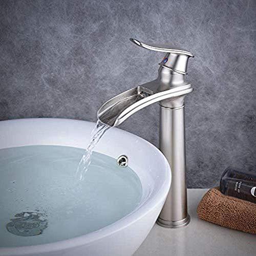 qingtianlove Zeitgenössische Bad Wasserfall Einhebel-Spültischbatterie aus gebürstetem Messing Spültischbatterie