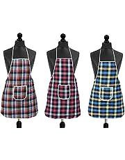 DEWBERRIES Waterproof Cotton Kitchen Multi Colour Apron with Front Pocket