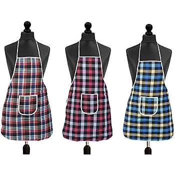 SOUXE Waterproof Cotton Kitchen Multi Colour Apron with Front Pocket - Set of 3