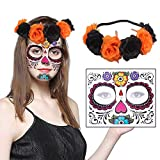 Death Day Makeup, Halloween Temporary Face Sugar Tattoos and Flower Rose Hair Garland Headband Set for Women Costume Masquerade Girl Parties Cosplay (Orange)