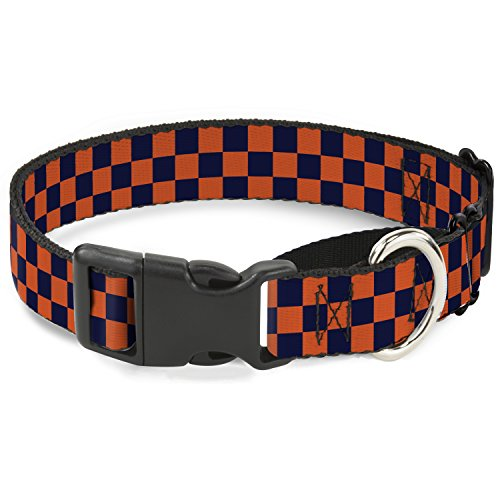 Buckle Down Checker orange/blau Martingale Hundehalsband, 2,5cm Wide-fits 22,9-38,1cm Neck-small Orange Checker