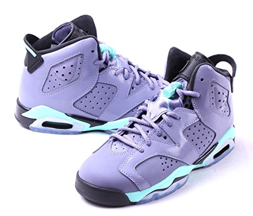 Nike Air Jordan 6 Retro Gg, Chaussures de Running Entrainement Fille Rose / Noir (Iron Purple / Bleached Turq-Blck)