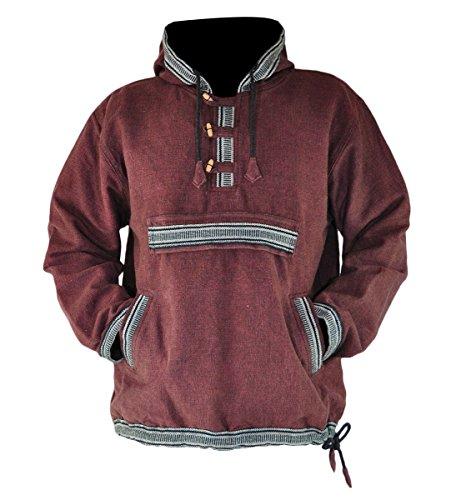 Hoodie Kapuzenpullover mit Ethno Muster als alternative Kleidung von virblatt Braun,L/XL