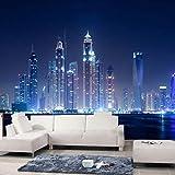 LONGYUCHEN Benutzerdefinierte 3D Seide Wandbild Tapete Modernes Design Stadt Nacht Schlafzimmer Wohnzimmer Tv Sofa Hintergrundbild Home Dekoration,60Cm(H)×120Cm(W)