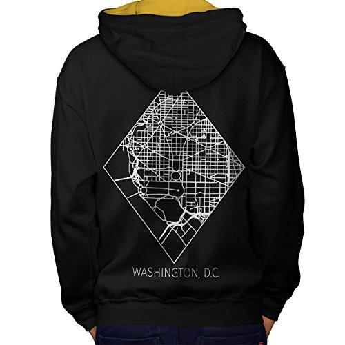 Washington Karte Mode Groß Stadt Karte Men M Kontrast Kapuzenpullover Zurück | Wellcoda