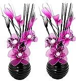 Flourish 796167 Fleurs artificielles en soie avec vase ovale pourpre noir violet 75cm, Verre, Pair of Pink, 10x10x32 cm