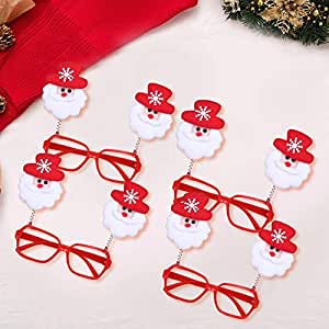 TIED RIBBONS Christmas Party Supplies - 4 Pcs Christmas Eyeglasses/Goggles Merry Christmas Party Props - Party Favors Christmas Gift for Kids (Christmas Goggles)