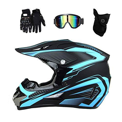 SHOPTOP Erwachsene Motocross Helm Motorradhelm Quad ATV Abenteuer Mountainbike Kleiner Helm für Männer und Frauen Geschenk mit Handschuhen Goggles Maske Motorradschutz-Set Blau,M