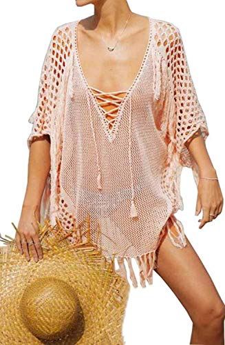 Crochet Beach Cover Up (Orshoy Damen Bathing Suit Cover Up Beach Bikini Lace Crochet Hollow Out Swimsuit Cover Ups Boho Weben Einzigartig Bikini Cover Up Sommerkleid Strandkleid Lang - One Size Rosa)