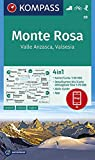 KOMPASS Wanderkarte Monte Rosa, Valle Anzasca, Valsesia: 4in1 Wanderkarte 1:50000 mit Aktiv Guide und Detailkarten inklusive Karte zur offline ... 1:50 000 (KOMPASS-Wanderkarten, Band 88)