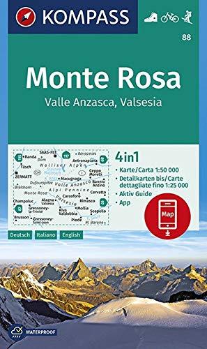 Carta escursionistica n. 88 - Monte Rosa, Valle Anzasca, Valsesia con guida 1:50.000. Ediz. italiana, tedesca e inglese: Wandelkaart 1:50 000 di KOMPASS-Karten