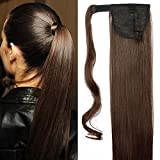 """23"""" Coda di Cavallo Clip in Hair Extension Capelli Lisci Sintetici Parrucchino Ponytail Wrap Around Estensioni 58cm-120g, 4# Marrone Cioccolato"""
