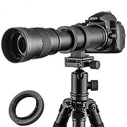 Jintu 420-800mm F/8,3-16Top téléobjectif à mise au point manuelle plein format pour Nikon D7100D80D90D600D5000D5100D3200D7000D7200DSLR appareil photo numérique + sacoche en cuir