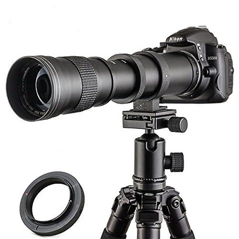 Jintu Camera objectif 420–800mm f/8,3–16HD Téléobjectif mise au point manuelle