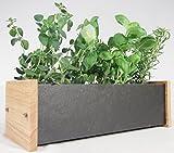 Handmade Natural Slate & Solid Oak Window Box - Includes Chalk & 3 Slate Markers (windowsill herb / flower kitchen garden planter trough)