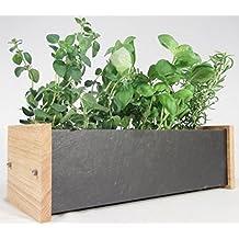Oak Slate Design - Fioriera per erbe aromatiche e fiori,in legno di quercia e ardesia, per ambienti interni ed esterni, 40 x 12,5 x 16 cm