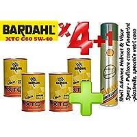 Olio motore auto - Totalmente Sintetico Bardahl XTC C60 5W-40 - Offerta 4 Litri + Shell Advance Helmet & Visor Spray - Pulitore casco - Finestrini auto - piastrelle, specchi e vetri casa
