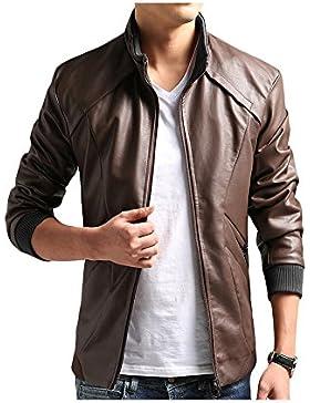 JKQA Men 's Vintage Stand Collar casual de ocio chaqueta de cuero de la PU