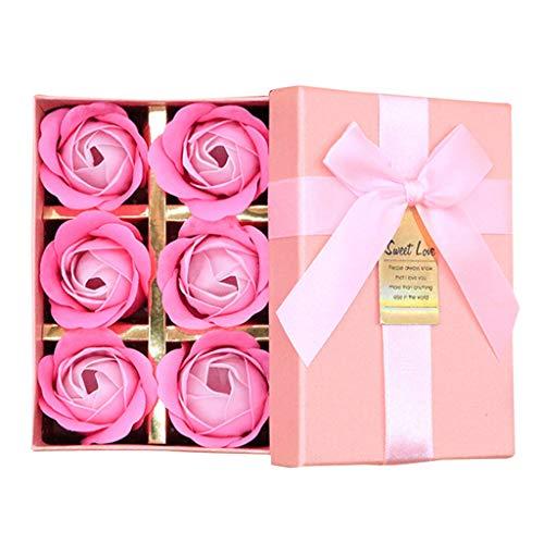erthome Duftendes Bad Körper Blütenblatt Rose Blume Seife Hochzeitsdekoration Geschenk Beste 6pc