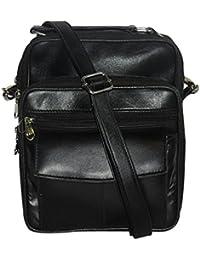 NAZ Unisex Black Leather Messenger Bag - B01IHQXMGW