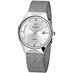 WWOOR Herren Elite Sport Armbanduhr Männlich Mesh Band Uhr mit Datum weiß