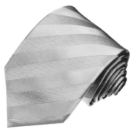 Lorenzo Cana - Einfarbige silbergraue Krawatte 100% Seide Seidenkrawatte Schlips Ton in Ton Streifen grau silber - 77154 - Italien Seide Krawatte