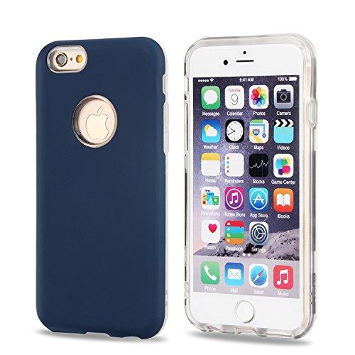 Ultra dünner leichter doppelter Schicht hybrider schützender rückseitiger Abdeckungs-Stoßkasten für iPhone 6 u. 6s ( Color : Silver ) Deep blue