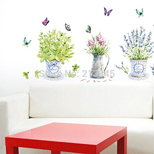 new-saturday-monopoly-diy-wall-stickers-home-decor-potted-flower-pot-butterfly-kitchen-window-glass-