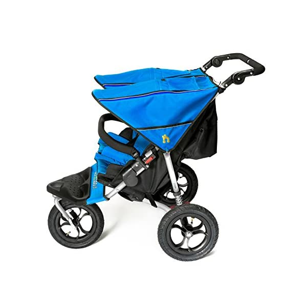 Out 'n' About Nipper Double v4 Stroller Lagoon Blue Out 'n' About LATEST V4 MODEL Twin independant sun canopy's & peek-a-boo window & auto-locking fold NARROW 72cm WIDTH! All-terrain 3-Wheeler pushchair, suitable for use from Birth to 4 years (approx) Independent Multi-position adjustable backrest, including lie flat with 5-Point Safety Harness 2