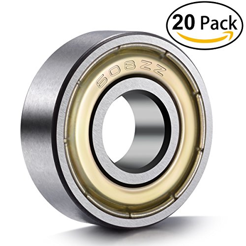 ancirs 20608ZZ Kugellager, 608ZZ Metall doppelt geschirmt Miniatur Rillenkugellager Skateboard Kugellager (8mm x 22mm x 7mm) Kugellager