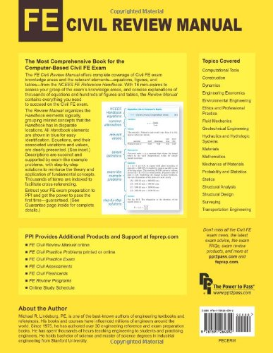 FE Civil Review Manual: Rapid Preparation for the Civil Fundamentals of Engineering Exam