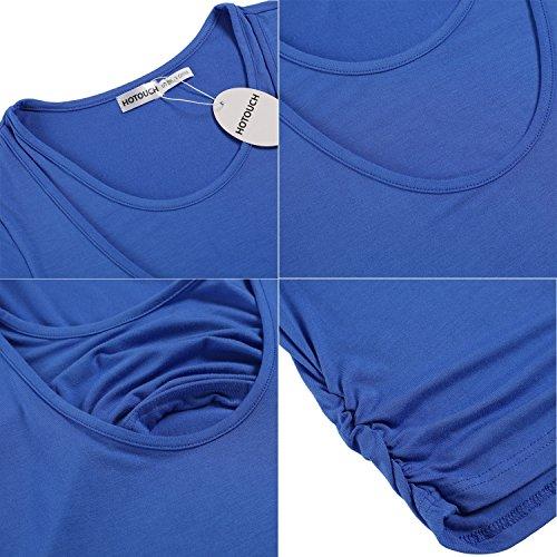 HOTOUCH Damen Schwanger T-Shirt Umstandsmode Stillshirt Umstandsshirt Mutterschaft Umstandstop Mit Rundhalsausschnitt Typ1-Blau