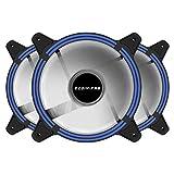 EZDIY-FAB Ventola LED da 120 mm, Ventola Case a Doppio Telaio per custodie per PC, Flusso d'Aria Elevato, dissipatori CPU e radiatori, Blu 3-pin-3pack
