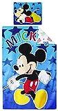 Disney Mickey - Juego de funda nórdica para niños pequeños, algodón, 140 x 90 cm, funda de almohada, 40 x 55 cm