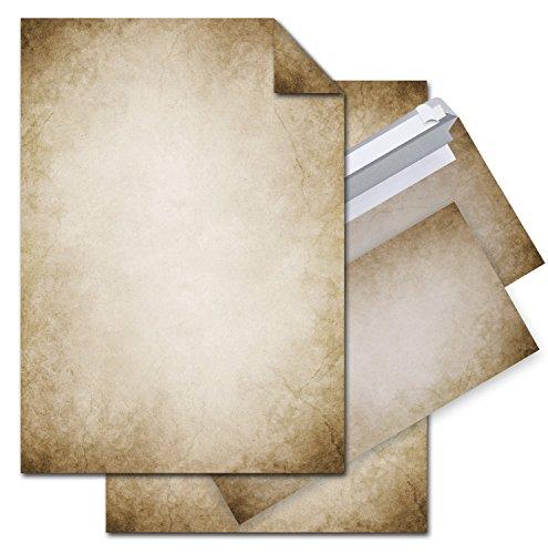 SET 12 Blatt Briefpapier VINTAGE beidseitig bedruckt 100g DIN A4 Brief-Bogen + 10 Stück nostalgie Umschlag Kuvert DIN Lang antik alt vintage rustikal natur braun beige