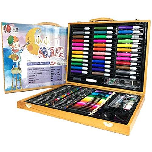 Zhangcaiyun Stift Malen 150 Holz Box Kinder Pinsel Set Geschenkbox Malerei Set Schüler Malerei Stift Aquarell Stift Öl Pastell Graffiti-Stift ( Farbe : Gelb ) (öl-farbe Gelb)