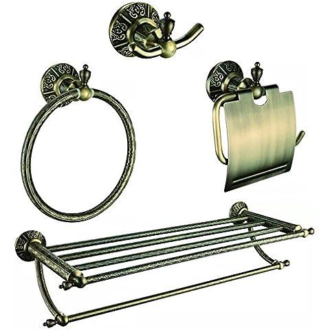 Modylee Anticuario de papel de bronce titular toalla barra de traje de gancho toalla anillo 4 piezas de baño conjuntos de