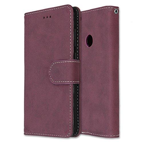 Chreey Huawei P8 Lite 2017 Hülle, Matt Leder Tasche Retro Handyhülle Magnet Flip Case mit Kartenfach Geldbörse Schutzhülle Etui [Rose Rot]