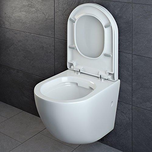 Design Wand Hänge WC ohne Spülrand Spülrandlos Toilette Sitz Softclose hängend 4 - 4