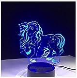 7 Bunte USB Cute Unicorn 3D Illusion Lampe Haushalt Schlafzimmer Büro LED Tischlampe Kind Nacht Lichter Weihnachtsgeschenke