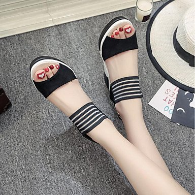RUGAI-UE Sommer Mode Frauen Sandalen Schuhe Casual PU Komfort Heels Outdoor Wandern, Mandel, Us5.5/EU36/UK3.5/CN 35 Black