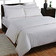 Homescapes Funda nórdica y funda de almohada 100% algodón Bio 400 hilos Blanco