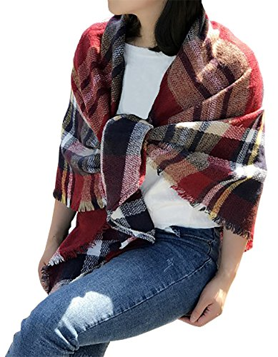 Frauen Plaid Schals Gitter Quaste Wrap übergroßen Check Schal Tartan Cashmere Schal Winter Decken (Tartan-check)