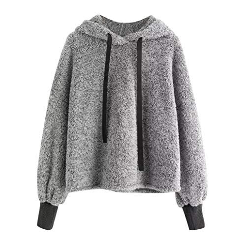 Odejoy donna invernale giacca manica lunga elegante con cappuccio giubbotto felpe allentato hoodie trench coat irregolare giubbino forti cappotto puro colore taglie sweatshirt hoody