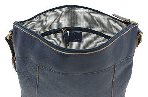 Pelle mala HARPER Collection A4 spalla del sacchetto / Corpo Bag Croce Blu 778_80 blu