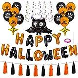 Kesote Palloncini 'Happy Halloween' a Forma di Pipistrello 17 Palloncini di Stagnola + 12 Palloncini di Latice + 5 Appesi Nastri a Spirale + 10 Frange di Carta Decorazione per Festa di Halloween